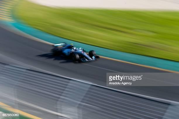 Valtteri Bottas of Finland driving for Mercedes AMG Petronas races during the 2017 Rolex Australian Formula 1 Grand Prix at Albert Park circuit in...