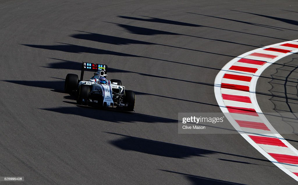 Valtteri Bottas of Finland driving the (77) Williams Martini Racing Williams FW38 Mercedes PU106C Hybrid turbo on track during practice for the Formula One Grand Prix of Russia at Sochi Autodrom on April 29, 2016 in Sochi, Russia.