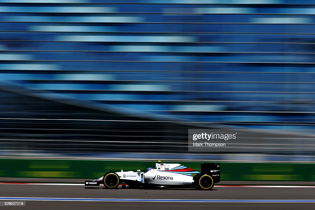<a gi-track='captionPersonalityLinkClicked' href=/galleries/search?phrase=Valtteri+Bottas&family=editorial&specificpeople=8640136 ng-click='$event.stopPropagation()'>Valtteri Bottas</a> of Finland driving the (77) Williams Martini Racing Williams FW38 Mercedes PU106C Hybrid turbo on track during practice for the Formula One Grand Prix of Russia at Sochi Autodrom on April 29, 2016 in Sochi, Russia.