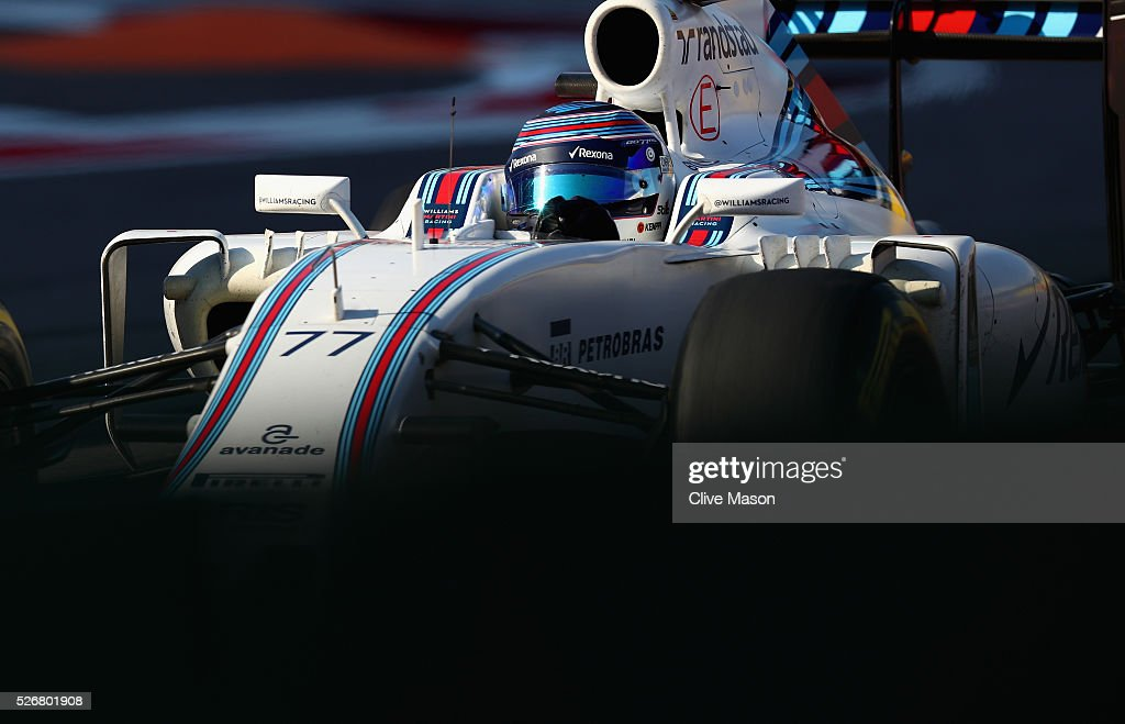 <a gi-track='captionPersonalityLinkClicked' href=/galleries/search?phrase=Valtteri+Bottas&family=editorial&specificpeople=8640136 ng-click='$event.stopPropagation()'>Valtteri Bottas</a> of Finland driving the (77) Williams Martini Racing Williams FW38 Mercedes PU106C Hybrid turbo on track during the Formula One Grand Prix of Russia at Sochi Autodrom on May 1, 2016 in Sochi, Russia.