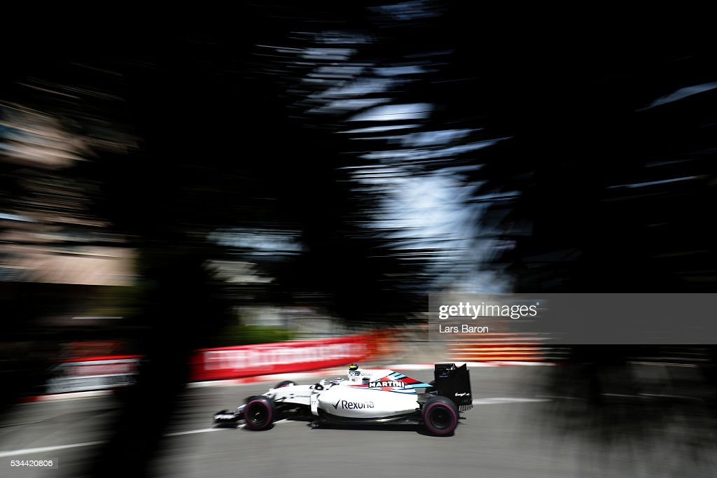 <a gi-track='captionPersonalityLinkClicked' href=/galleries/search?phrase=Valtteri+Bottas&family=editorial&specificpeople=8640136 ng-click='$event.stopPropagation()'>Valtteri Bottas</a> of Finland driving the (77) Williams Martini Racing Williams FW38 Mercedes PU106C Hybrid turbo on track during practice for the Monaco Formula One Grand Prix at Circuit de Monaco on May 26, 2016 in Monte-Carlo, Monaco.