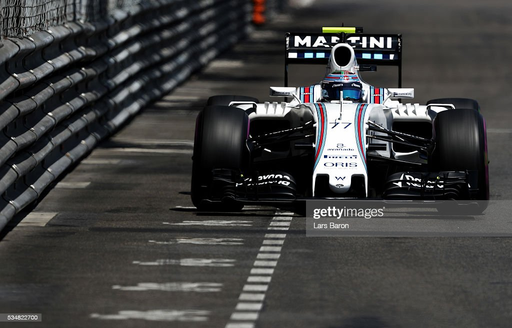 <a gi-track='captionPersonalityLinkClicked' href=/galleries/search?phrase=Valtteri+Bottas&family=editorial&specificpeople=8640136 ng-click='$event.stopPropagation()'>Valtteri Bottas</a> of Finland driving the (77) Williams Martini Racing Williams FW38 Mercedes PU106C Hybrid turbo on track during qualifying for the Monaco Formula One Grand Prix at Circuit de Monaco on May 28, 2016 in Monte-Carlo, Monaco.
