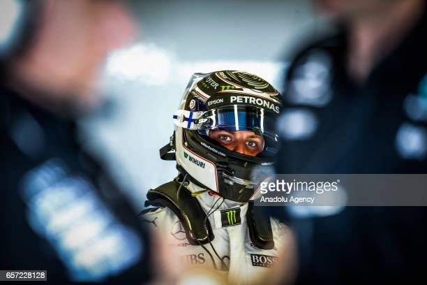 Valtteri Bottas of Mercedes AMG Petronas is seen in his garage on Friday Free Practice during the 2017 Rolex Australian Formula 1 Grand Prix at...