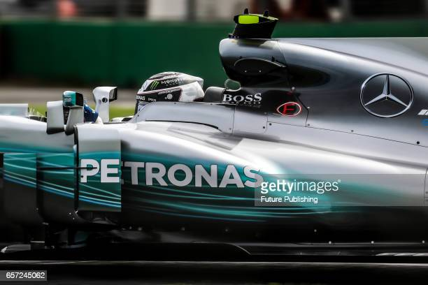 Valtteri Bottas of Mercedes AMG Petronas Motorsport competes in the 1st F1 practice session at the 2017 Australian Formula 1 Grand Prix on March 24...