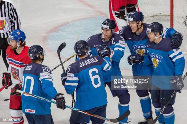 Valtteri Filppula celebrates his goal with teammates during the Ice Hockey World Championship between Finland and Czech Republic at AccorHotels Arena...