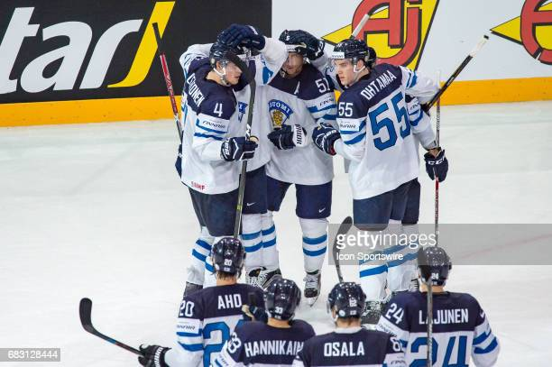 Valtteri Filppula celebrates his goal with teammates during the Ice Hockey World Championship between Switzerland and Finland at AccorHotels Arena in...