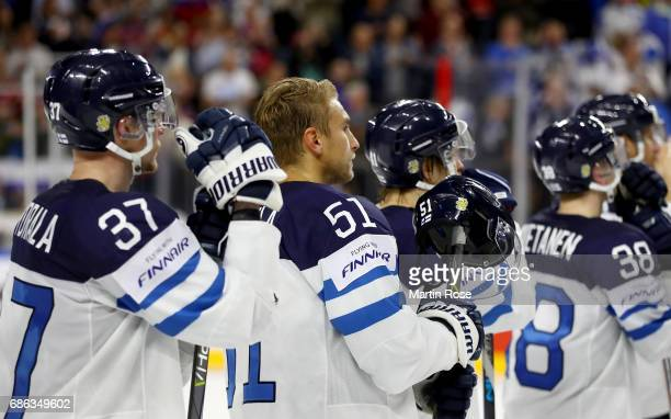 Valtteri Filppula of Finland looks dejected after the 2017 IIHF Ice Hockey World Championship Bronze Medal game between Russia and Finland at Lanxess...