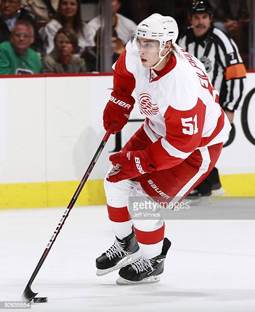 Valtteri Filppula of the Detroit Red Wings skates up ice with the puck during their game against the Vancouver Canucks at General Motors Place on...