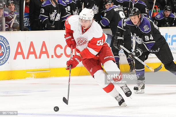 Valtteri Filppula of the Detroit Red Wings skates with the puck against the Los Angeles Kings on January 7 2010 at Staples Center in Los Angeles...