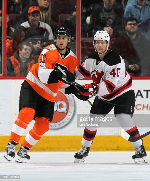 Valtteri Filppula of the Philadelphia Flyers battles against Blake Coleman of the New Jersey Devils on April 1 2017 at the Wells Fargo Center in...