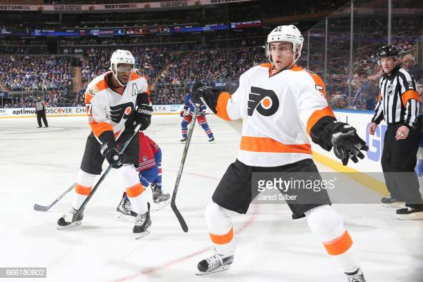 Valtteri Filppula of the Philadelphia Flyers catches the puck against the New York Rangers at Madison Square Garden on April 2 2017 in New York City...