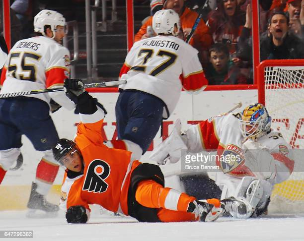 Valtteri Filppula of the Philadelphia Flyers celebrates his game tying third period goal against the Florida Panthers at the Wells Fargo Center on...