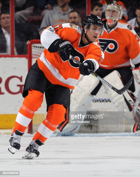 Valtteri Filppula of the Philadelphia Flyers completes a pass against the Ottawa Senators on March 28 2017 at the Wells Fargo Center in Philadelphia...