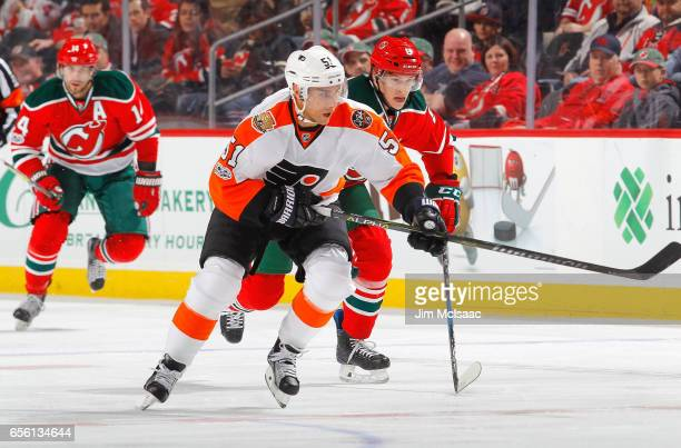 Valtteri Filppula of the Philadelphia Flyers in action against the New Jersey Devils on March 16 2017 at Prudential Center in Newark New Jersey The...