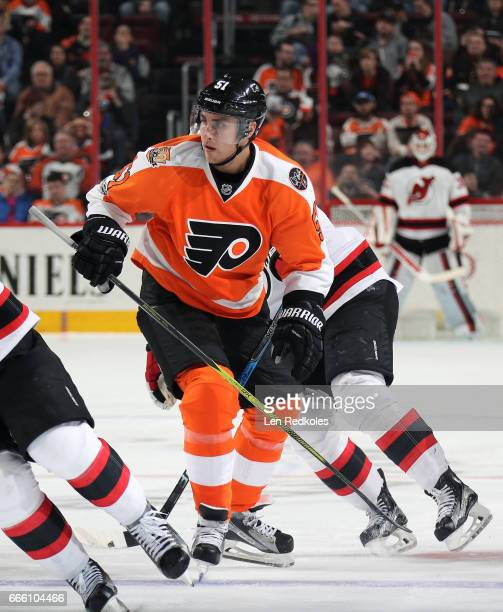 Valtteri Filppula of the Philadelphia Flyers in action against the New Jersey Devils on April 1 2017 at the Wells Fargo Center in Philadelphia...