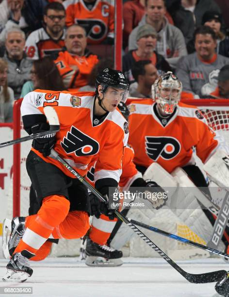 Valtteri Filppula of the Philadelphia Flyers in action against the Columbus Blue Jackets on April 8 2017 at the Wells Fargo Center in Philadelphia...