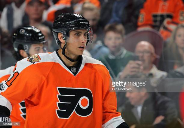 Valtteri Filppula of the Philadelphia Flyers looks on against the Florida Panthers on March 2 2017 at the Wells Fargo Center in Philadelphia...