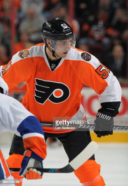 Valtteri Filppula of the Philadelphia Flyers looks on prior to a faceoff against the New York Islanders on March 30 2017 at the Wells Fargo Center in...