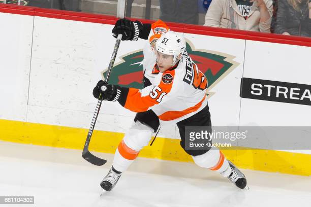 Valtteri Filppula of the Philadelphia Flyers shoots the puck against the Minnesota Wild during the game on March 23 2017 at the Xcel Energy Center in...