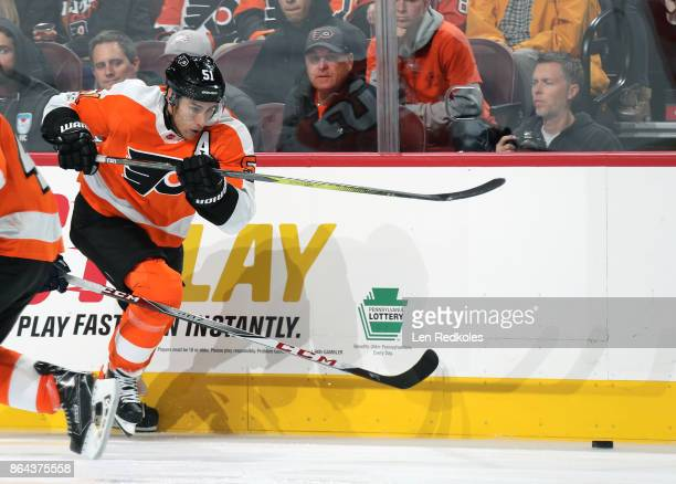 Valtteri Filppula of the Philadelphia Flyers skates after the loose puck against the Florida Panthers on October 17 2017 at the Wells Fargo Center in...