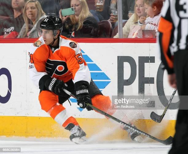 Valtteri Filppula of the Philadelphia Flyers skates against the Columbus Blue Jackets on April 8 2017 at the Wells Fargo Center in Philadelphia...