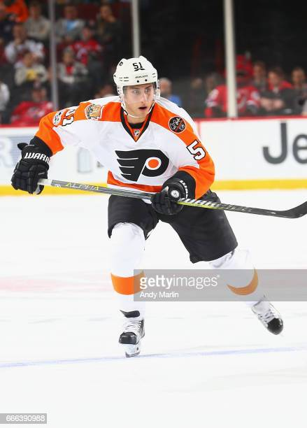 Valtteri Filppula of the Philadelphia Flyers skates against the New Jersey Devils during the game at Prudential Center on April 4 2017 in Newark New...