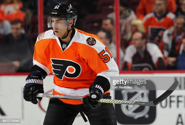 Valtteri Filppula of the Philadelphia Flyers skates against the Florida Panthers on March 2 2017 at the Wells Fargo Center in Philadelphia...