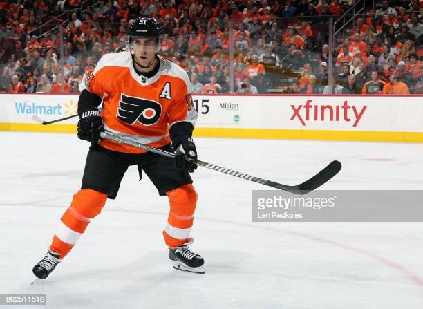 Valtteri Filppula of the Philadelphia Flyers skates against the Washington Capitals on October 14 2017 at the Wells Fargo Center in Philadelphia...