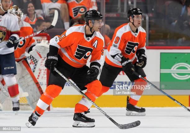 Valtteri Filppula of the Philadelphia Flyers skates against the Florida Panthers on October 17 2017 at the Wells Fargo Center in Philadelphia...