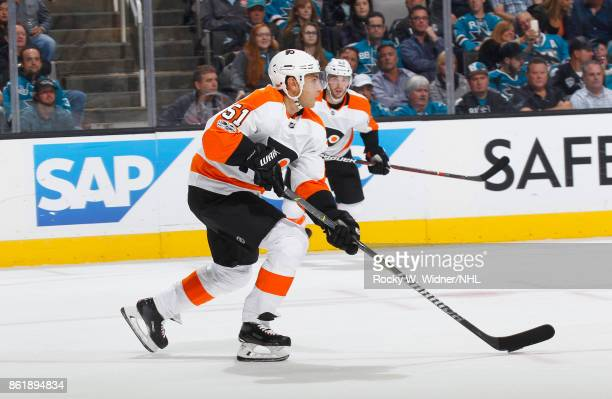 Valtteri Filppula of the Philadelphia Flyers skates during a NHL game against the Philadelphia Flyers at SAP Center at San Jose on October 4 2017 in...