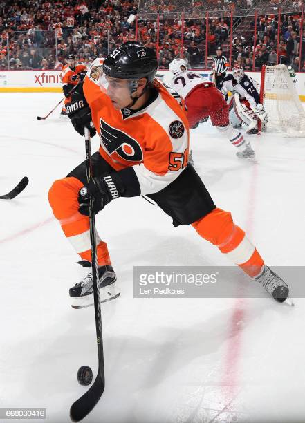 Valtteri Filppula of the Philadelphia Flyers skates the puck the Columbus Blue Jackets on April 8 2017 at the Wells Fargo Center in Philadelphia...