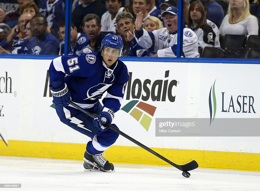 Valtteri Filppula of the Tampa Bay Lightning against the Montreal Canadiens in Game One of the First Round of the 2014 Stanley Cup Playoffs at the...