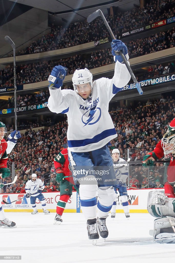 Valtteri Filppula of the Tampa Bay Lightning celebrates after scoring a goal against the Minnesota Wild during the game on February 4 2014 at the...