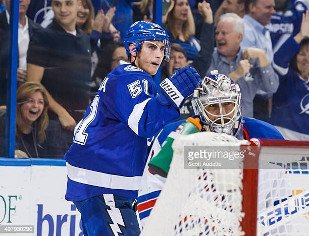Valtteri Filppula of the Tampa Bay Lightning celebrates his game winning short handed goal against goalie Henrik Lundqvist the New York Rangers...