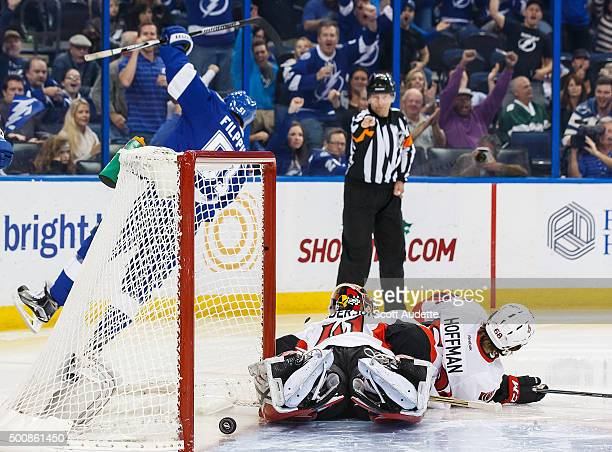 Valtteri Filppula of the Tampa Bay Lightning celebrates his goal against goalie Craig Anderson and Mike Hoffman of the Ottawa Senators during third...