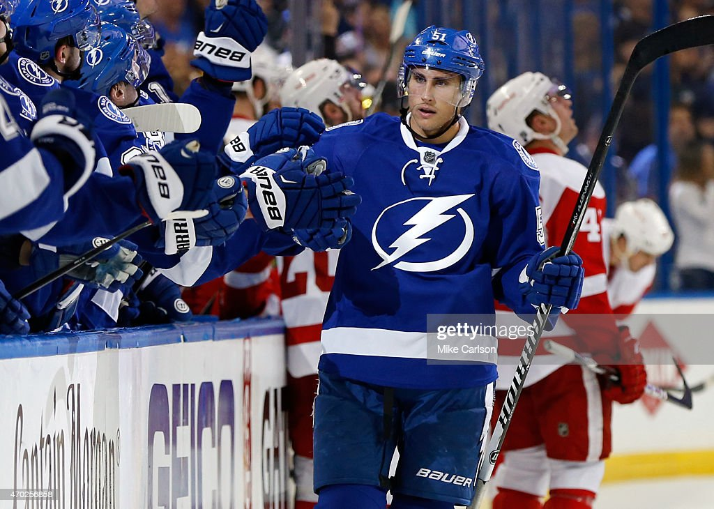 Valtteri Filppula of the Tampa Bay Lightning celebrates his goal against the Detroit Red Wings in Game Two of the Eastern Conference Quarterfinals...