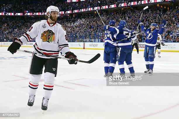 Valtteri Filppula of the Tampa Bay Lightning celebrates with his teammates Alex Killorn and Steven Stamkos after scoring a second period goal against...