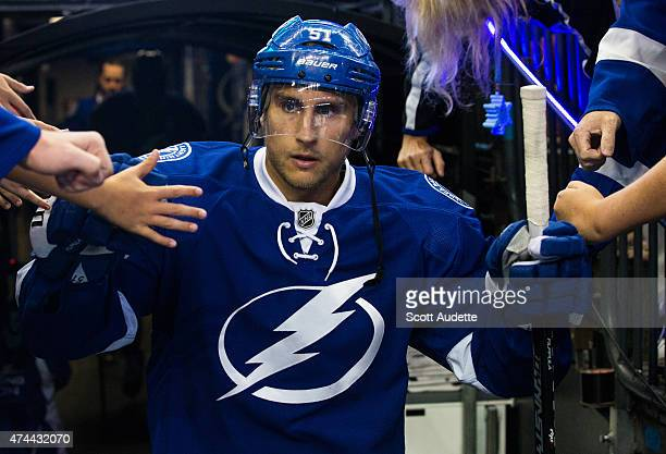 Valtteri Filppula of the Tampa Bay Lightning gets ready to take to the ice for the pre game warm ups against the New York Rangers before Game Four of...