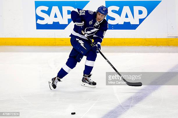 Valtteri Filppula of the Tampa Bay Lightning in action against the Chicago Blackhawks during Game One of the 2015 NHL Stanley Cup Final at Amalie...