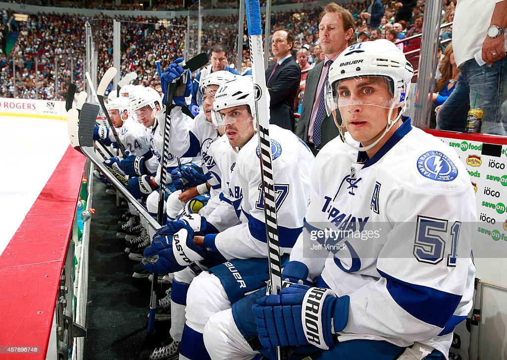 Valtteri Filppula of the Tampa Bay Lightning looks on from the bench during their NHL game against theVancouver Canucks at Rogers Arena October 18...