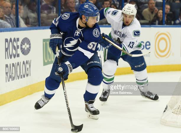 Valtteri Filppula of the Tampa Bay Lightning plays in a game against Nick Bonino of the Vancouver Canucks at Amalie Arena on January 20 2015 in Tampa...