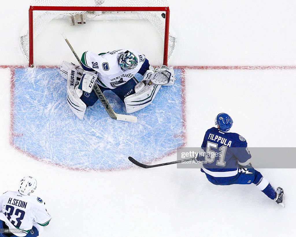 Valtteri Filppula of the Tampa Bay Lightning shoots the puck over the shoulder of goalie Ryan Miller of the Vancouver Canucks for a goal during the...