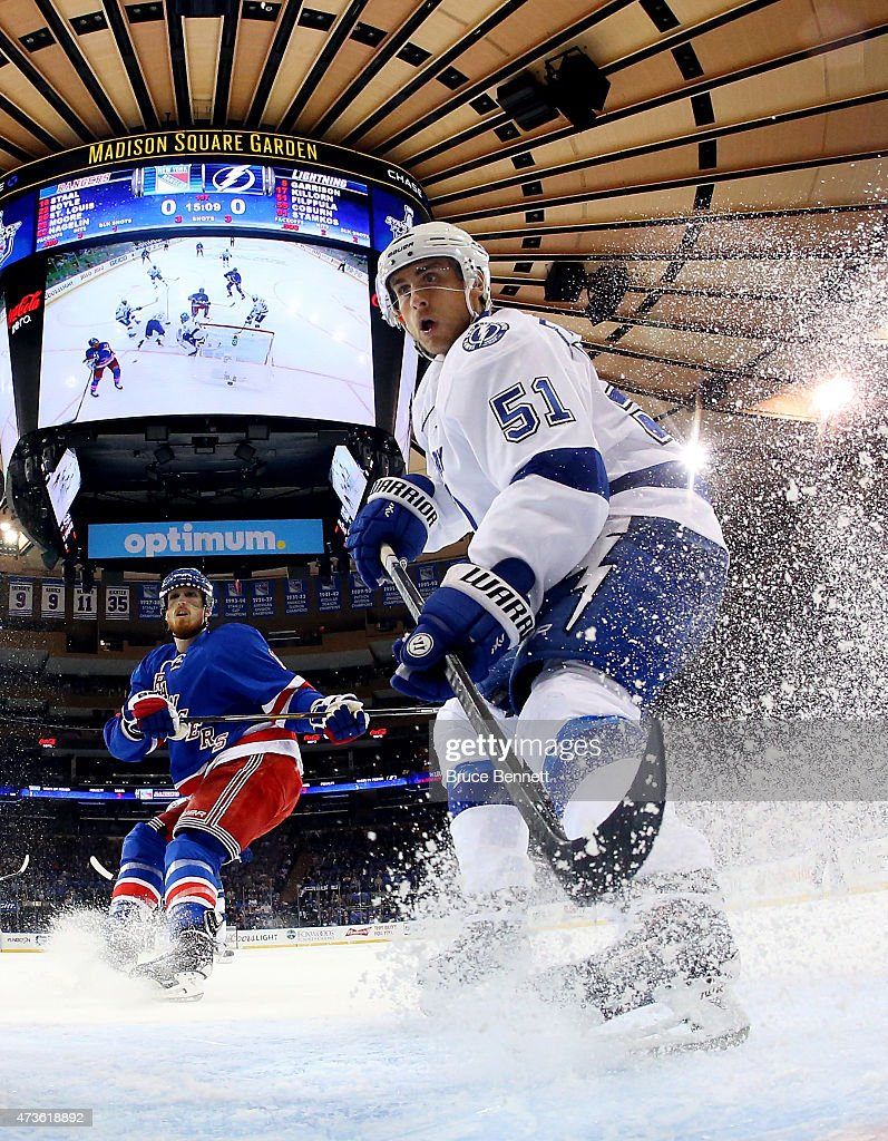 Valtteri Filppula of the Tampa Bay Lightning skates against Marc Staal of the New York Rangers in the first period of Game One of the Eastern...