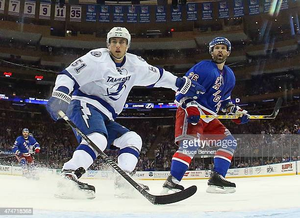 Valtteri Filppula of the Tampa Bay Lightning skates against the New York Rangers in Game Five of the Eastern Conference Finals during the 2015 NHL...