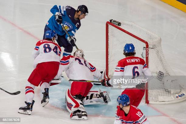 Valtteri Filppula scores a goal against Goalie Petr Mrazek during the Ice Hockey World Championship between Finland and Czech Republic at AccorHotels...