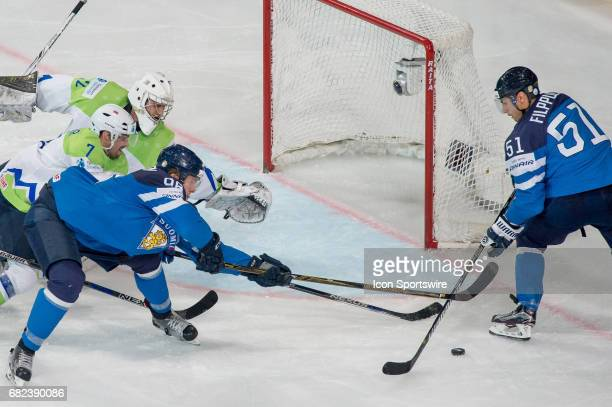 Valtteri Filppula tries to score against Goalie Gasper Kroselj during the Ice Hockey World Championship between Finland and Slovenia at AccorHotels...