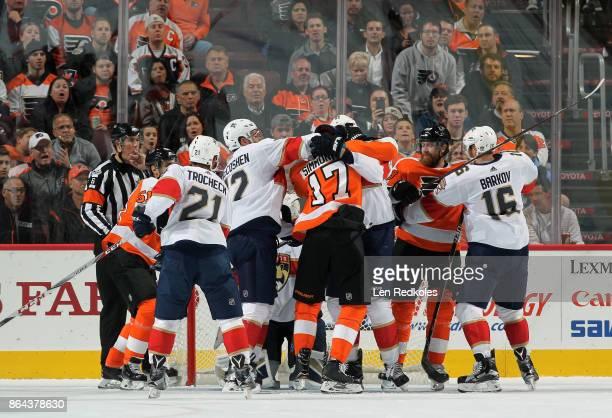 Valtteri Filppula Wayne Simmonds and Jakub Voracek of the Philadelphia Flyers are involved in a scrum against Vincent Trocheck Ian McCoshen and...