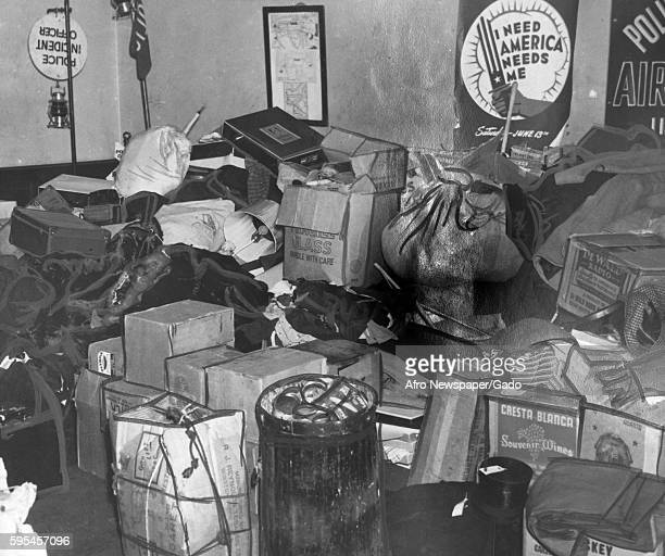 Valuable items from stores looted during a riot are stored in a police station in Baltimore Maryland August 7 1943