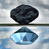 Valuation vision seeing the possibilities of value opportunity as a wealth financial visualization concept as a rock or coal making a reflection in the water of a precious diamond with 3D illustration