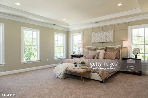 Master Bedroom in the Third Floor Master Suite in the model at Saratoga Towns on May 9 2017 in Springfield Virginia